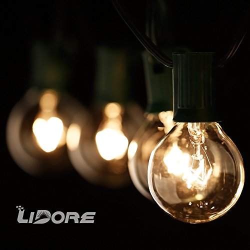 String Lights Garage : LIDORE? G40 Globe bulb Patio String Light set. UL lsit. Clear Bulbs with Green Cord. 25.8ft Long ...