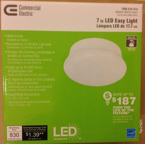 Attractive Commercial Electric (Model # 54606141) 1 Light 7 In. White LED Easy Light Gallery