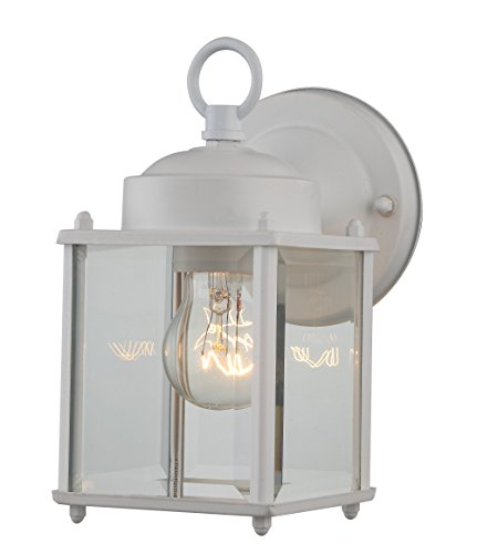 1-Light Exterior Wall Mount Lantern Fixture, White Finish on Steel with Clear Glass Textured ...