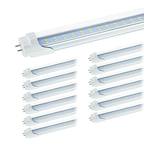 Replace Garage Lights With Led: JESLED T8 4FT LED Tube Light Bulbs, 6000k Cool White, 24W